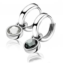 Zilveren creoolhangers donkergijs & crystal wit