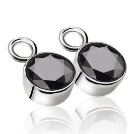 Creoolhangers rond zilver met zwart