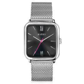 Square Roman horloge zilverkleurig
