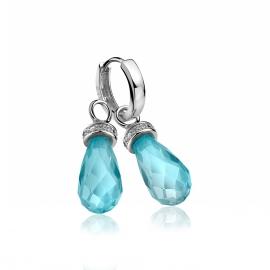 Zilveren creoolhangers blauw met zirkonia