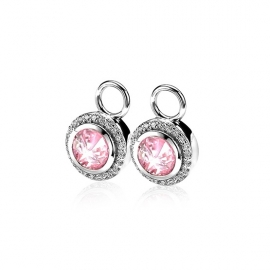 Zilveren creoolhangers roze