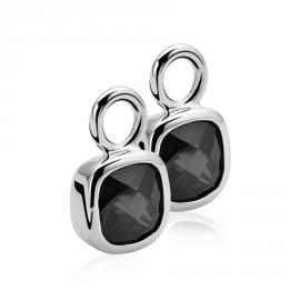 Creoolhangers vierkant zilver met zwart