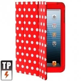 Bescherm-Opberg Hoes Etui Pouch Map voor Apple iPad Mini Rood-Wit Stippen