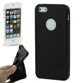 TPU S-Line Bescherm-Hoes Skin  voor iPhone 5 - 5S.  Zwart