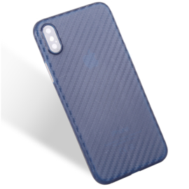 Slim Carbon Bescherm-Hoes Skin  voor iPhone X - XS    Blauw