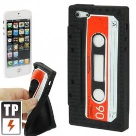 Silicone Bescherm-Hoes Skin Sleeve voor iPhone 5 - 5S Tape Zwart Nieuw