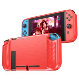 TPU Bescherm Hoes Skin voor Nintendo Switch  - Blauw - Carbon