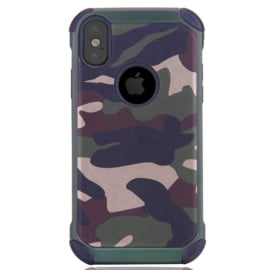 iPhone X - XS   Tough Armor-Case Bescherm-Cover Hoes - Camouflage Groen