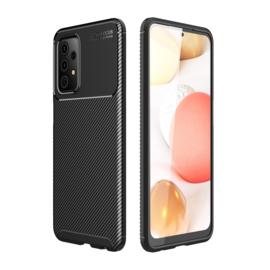 Carbon TPU Bescherm-Hoes Skin voor Samsung Galaxy A72 Zwart