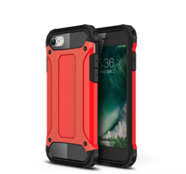 Hybrid Armor-Case Bescherm-Cover Hoes voor iPhone SE 2020. Rood