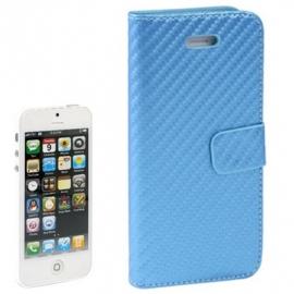 Slim Boek Case Bescherm-Etui Hoes voor iPhone SE Blauw-Carbon