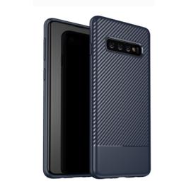 Samsung Galaxy S10 - Carbon TPU Bescherm-Hoes Skin - Blauw