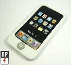 Silicone Bescherm-Hoes voor iPod Touch 4 4G  -  Met home-knop bescherming  WIt