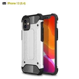 Sterke Armor-Case Bescherm-Cover Hoes voor iPhone 12 Mini -  Zilver