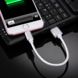 Luxe Lightning Oplader - Data USB Kabel voor iPhone  20cm. Zilver
