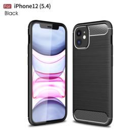 Flex-Cover TPU Bescherm-Hoes Skin voor iPhone 12 Mini   Zwart Carbon