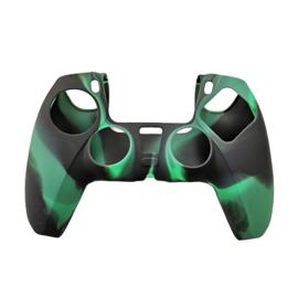 Silicone Hoes / Skin voor Playstation 5 - PS5 Controller   Groen Zwart