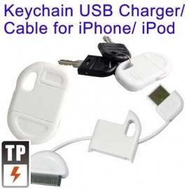 USB Kabel-Oplader Sleutelhanger voor iPod Touch Wit