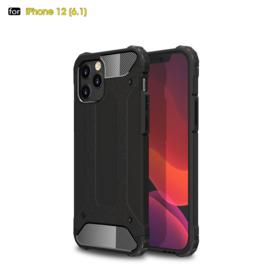 Sterke Armor-Case Bescherm-Cover Hoes voor iPhone 12 - 12 Pro  Zwart