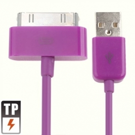 USB 2.0 Data en oplaad Kabel voor iPod iPhone iPad  1m.  Paars