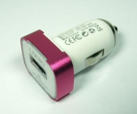 USB 12v Auto-Oplader voor iPad - iPhone  - iPod  2.1 amp  Roze