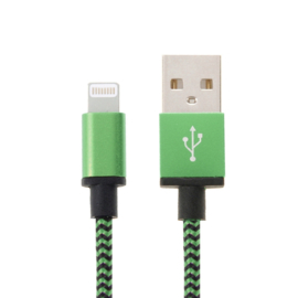 Luxe Metalen Lightning Oplader - Data USB Kabel voor iPhone - iPad  2m Groen