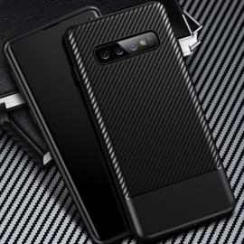 Samsung Galaxy S10 - Carbon TPU Bescherm-Hoes Skin - Grijs