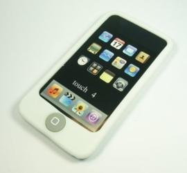 Silicone Bescherm-Hoes voor iPod Touch 4 4G  Met home-knop bescherming  Wit