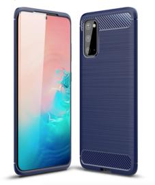 Samsung Galaxy S20 - Carbon TPU Bescherm-Hoes Skin - Blauw