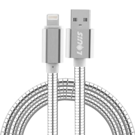 Luxe Metalen Lightning Oplader - Data USB Kabel voor iPhone - iPad  100cm. Zilver