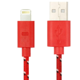 Lightning Oplader en Data USB Kabel voor iPhone of iPad 100cm. Rood