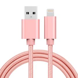 Luxe Metalen Lightning Oplader - Data USB Kabel voor iPhone - iPad  100cm. Roze