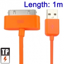 USB 2.0 Data en oplaad Kabel voor iPod iPad iPhone  1m.  Oranje