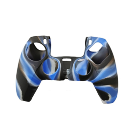 Silicone Hoes / Skin voor Playstation 5 - PS5 Controller   Blauw Wit Zwart
