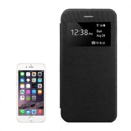 Slim Boek Bescherm-Etui met Venster voor iPhone 6 - 6S  Plus  Zwart