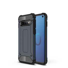 Samsung Galaxy S10 - Hybrid  Armor-Case Bescherm-Cover Hoes - Donker blauw