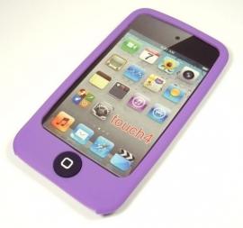 Silicone Bescherm-Hoes voor iPod Touch 4 4G  Met home-knop bescherming  Paars