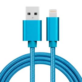 Luxe Metalen Lightning Oplader - Data USB Kabel voor iPhone - iPad  100cm. Zwart
