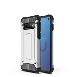 Samsung Galaxy S10 - Hybrid  Armor-Case Bescherm-Cover Hoes - Zilver