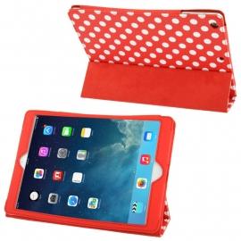 Dot Style PU Bescherm-Opberg Etui Hoes voor iPad Air   Rood