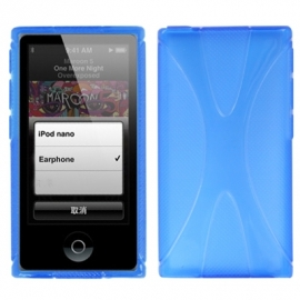 TPU Flex Bescherm-Cover Hoes Skin Hoesje voor iPod Nano 7 7G Blauw