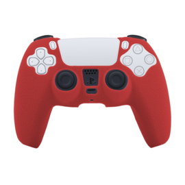 Leer-Look Silicone Hoes / Skin voor Playstation 5 - PS5 Controller   Rood