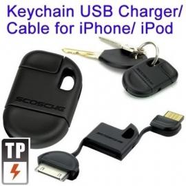 USB Kabel-Oplader Sleutelhanger voor iPod Touch    Zwart