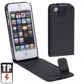 PU Flip Case Bescherm-Etui Case Hoes voor iPhone 5 - 5S Zwart-Carbon