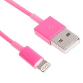 Lightning USB Oplader en Data-kabel voor iPhone   Roze Magenta
