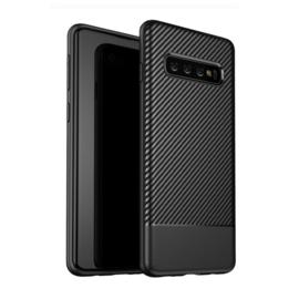 Samsung Galaxy S10 - Carbon TPU Bescherm-Hoes Skin - Zwart