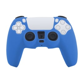 Leer-Look Silicone Hoes / Skin voor Playstation 5 - PS5 Controller   Blauw