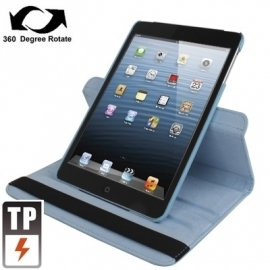 360º PU Bescherm-Cover Hoes Etui voor iPad Mini Lichtblauw