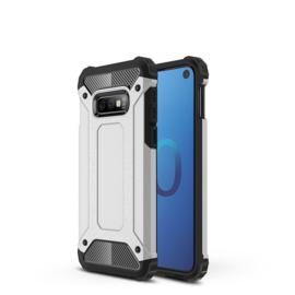 Samsung Galaxy S10e - Tough  Armor-Case Bescherm-Cover Hoes Skin - Zilver
