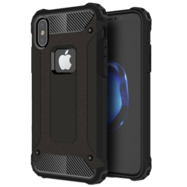 iPhone X  - XS - Hybrid Tough Armor-Case Bescherm-Cover Hoes - Zwart